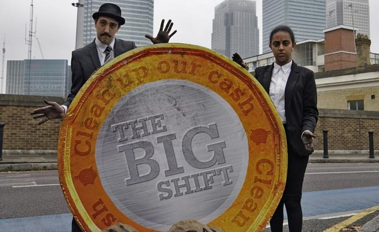 The Big Shift campaign is calling on banks to stop funding climate change.