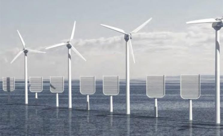 Artificial trees depicted amidst an offshore wind farm in the IMECHE report