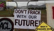 'Don't frack our future' protester sign