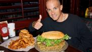 Man with HUGE veggie burger