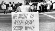 "A white child protests desegregation of her elementary school in New Orleans, 1960 - ""We Want To Keep Our School White"""