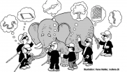 Cartoon of the Sufi fable of the six blind men and an elephant