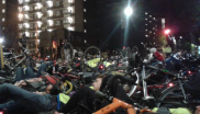 The mass die-in of cyclists outside Transport for London's offices, 30th November 2013. Photo: Catherine Nelson.