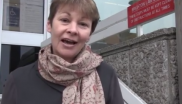 Caroline Lucas outside Brighton Court Centre. Photo: Zoe Broughton.