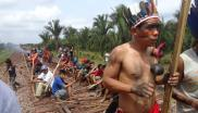 Some 300 indigenous Guajajara and Awá-Guajá people blockade the Carajás railroad in October 2012 to call for the repeal of Brazil's Ordinance 303, which abolished the need for indigenous consultation for major infrastructure projects deemed integral to