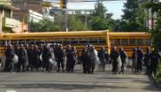 Police line up at a 2012 demo against the Lobo regime in Tegucigalpa. Photo:  hondurasdelegation via Flickr (CC BY-NC-SA).