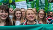 Natalie Bennett with the Green Party section at the March Against Austerity, London, 22nd June 2015. Photo: Jasn via Flickr (CC BY-NC).
