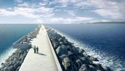 Artist's impression of the Swansea Bay Tidal Lagoon, which would, if built, generate almost 500 gigawatt hours of electricity per year. Image: preconstruct.com.