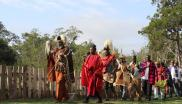 Elders of the Kikuyu and Maasai People opene a colourful graduation ceremony at Bantu Lodge near Mount Kenya with a dawn blessing. (c) Gaia Foundation